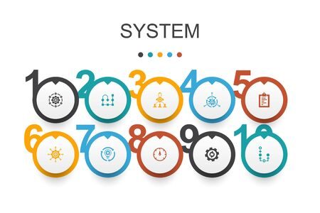system Infographic design template. management, processing, plan, scheme icons