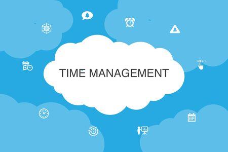 Time Management Infographic cloud design template.efficiency, reminder, calendar, planning simple icons