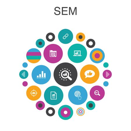 SEM Infographic circle concept. Smart UI elements Search engine, Digital marketing, Content