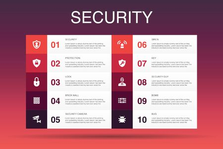 Security Infographic 10 option template. protection, security camera, key, bomb icons Stock Illustratie