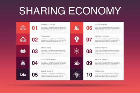 Sharing economy Infographic design template. coworking, car sharing, Crowdfunding, innovation icons Illustration