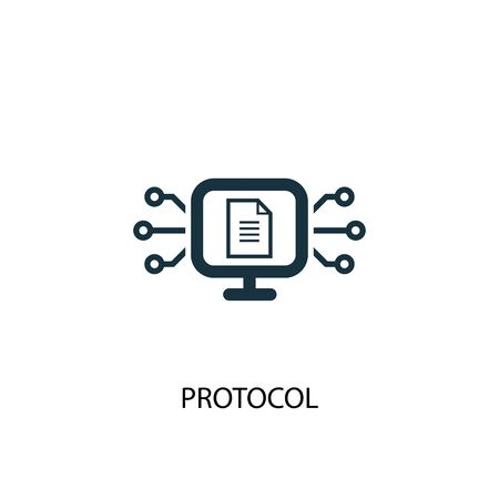 icona del protocollo. Illustrazione semplice dell'elemento. disegno di simbolo del concetto di protocollo. Può essere utilizzato per il web