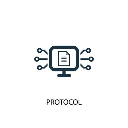 Protokollsymbol. Einfache Elementabbildung. Protokollkonzept Symboldesign. Kann für Web verwendet werden