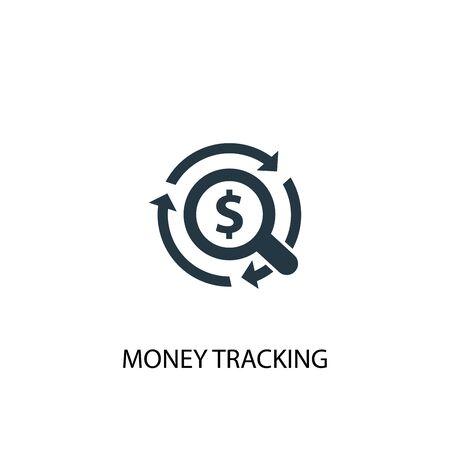 icono de seguimiento de dinero. Ilustración de elemento simple. diseño de símbolo de concepto de seguimiento de dinero. Puede usarse para web