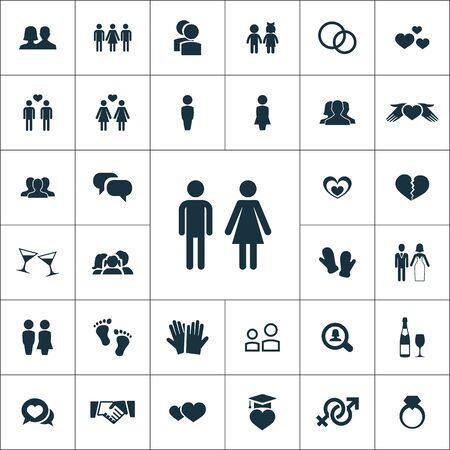 couple icons universal set for web and UI  イラスト・ベクター素材