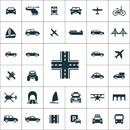 transportation icons universal set for web and UI