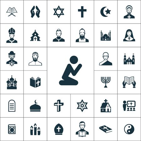religion icons universal set for web and UI