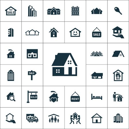 real estate icons universal set for web and UI Illustration