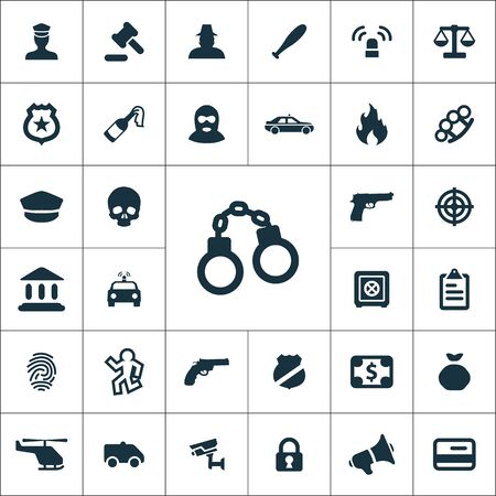 crime, justice icons universal set for web and UI