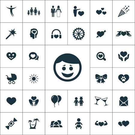 happiness icons universal set for web and mobile.