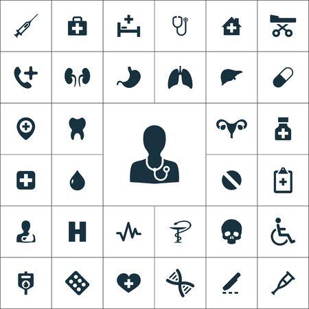 Ensemble universel d'icônes médicales pour le web et l'interface utilisateur Vecteurs