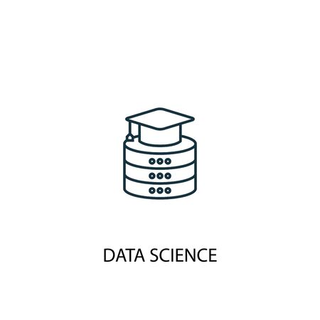 Data science concept line icon. Simple element illustration. Data science concept outline symbol design. Can be used for web and mobile UI Ilustracja