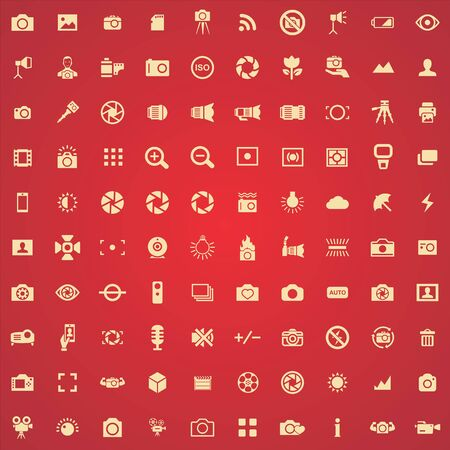 photography 100 icons universal set for web and UI Stock Vector - 130222089