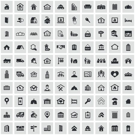 real estate 100 icons universal set for web and UI Standard-Bild - 130222100