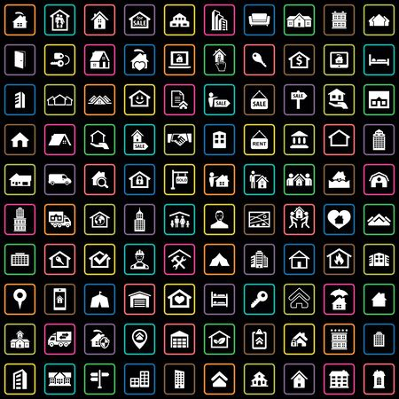 real estate 100 icons universal set for web and UI Standard-Bild - 130222102