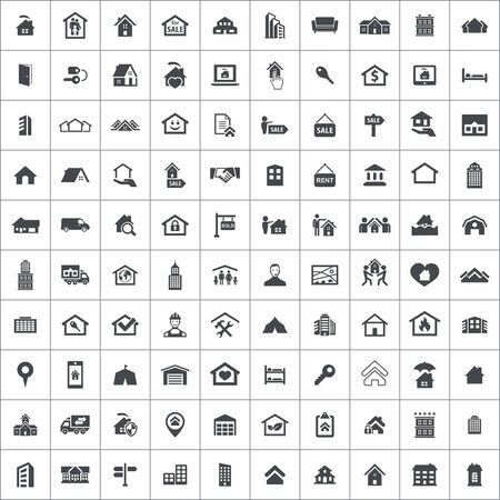 real estate 100 icons universal set for web and UI Standard-Bild - 130221907