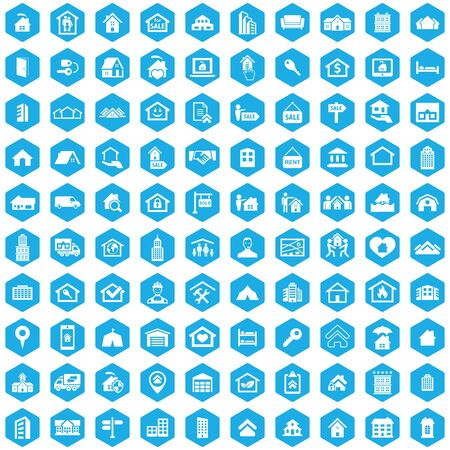 real estate 100 icons universal set for web and UI Standard-Bild - 130222007