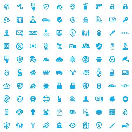 security 100 icons universal set for web and UI Stock Illustratie
