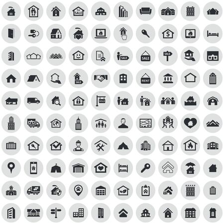 real estate 100 icons universal set for web and UI Stock Vector - 130221656