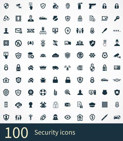 100 ikon bezpieczeństwa uniwersalny zestaw dla sieci i interfejsu użytkownika