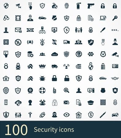 security 100 icons universal set for web and UI Vettoriali