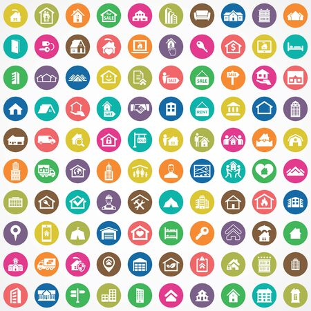 real estate 100 icons universal set for web and UI