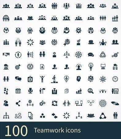 teamwork 100 icons universal set for web and UI Vecteurs