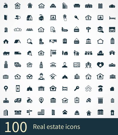 real estate 100 icons universal set for web and UI Standard-Bild - 130221610