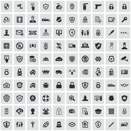 security 100 icons universal set for web and UI