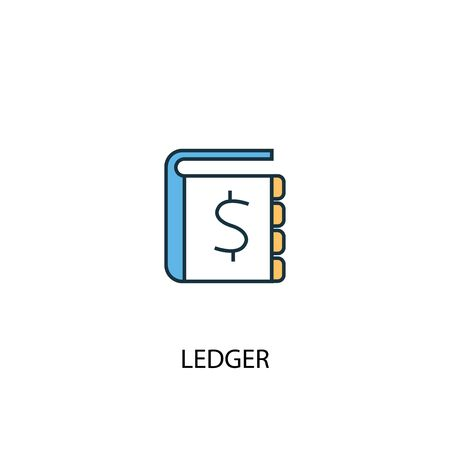ledger concept 2 colored line icon. Simple yellow and blue element illustration. ledger concept outline symbol