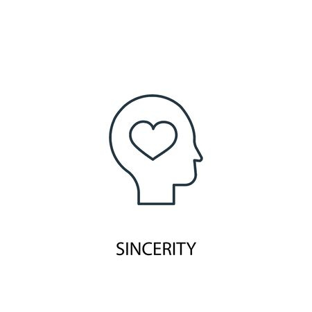 sincerity concept line icon. Simple element illustration. sincerity concept outline symbol design. Can be used for web and mobile Ilustração