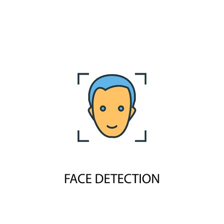 face detection concept 2 colored line icon. Simple yellow and blue element illustration. face detection concept outline symbol