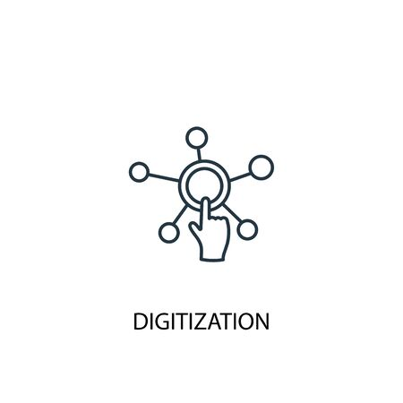 digitization concept line icon. Simple element illustration. digitization concept outline symbol design. Can be used for web and mobile Vettoriali