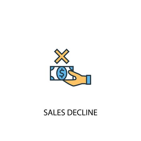 sales decline concept 2 colored line icon. Simple yellow and blue element illustration. sales decline concept outline symbol Illustration