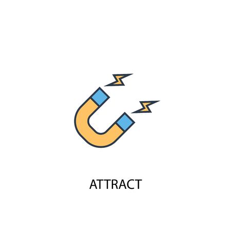 attract concept 2 colored line icon. Simple yellow and blue element illustration. attract concept outline symbol