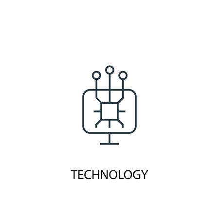 technology concept line icon. Simple element illustration. technology concept outline symbol design. Can be used for web and mobile