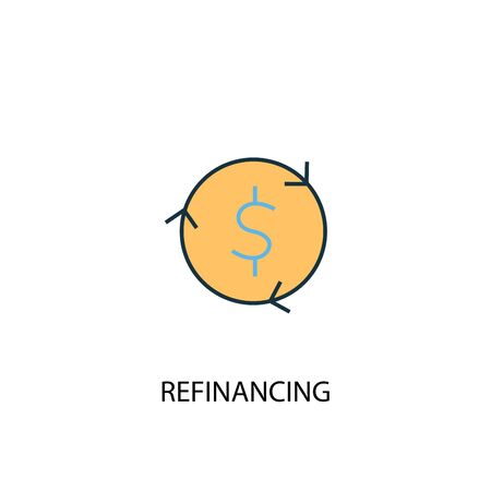 Refinancing concept 2 colored line icon. Simple yellow and blue element illustration. Refinancing concept outline symbol design