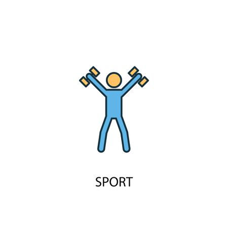 icône de ligne de couleur sport concept 2. Illustration simple d'élément jaune et bleu. symbole de contour de concept de sport