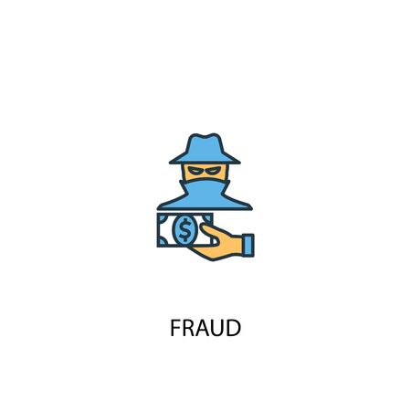 fraud concept 2 colored line icon. Simple yellow and blue element illustration. fraud concept outline symbol