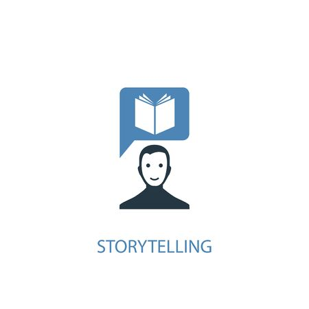 storytelling concept 2 colored icon. Simple blue element illustration. storytelling concept symbol design. Can be used for web and mobile