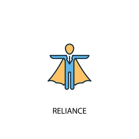 reliance concept 2 colored line icon. Simple yellow and blue element illustration. reliance concept outline symbol