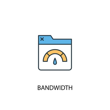 Bandwidth concept 2 colored line icon. Simple yellow and blue element illustration. Bandwidth concept outline symbol  イラスト・ベクター素材