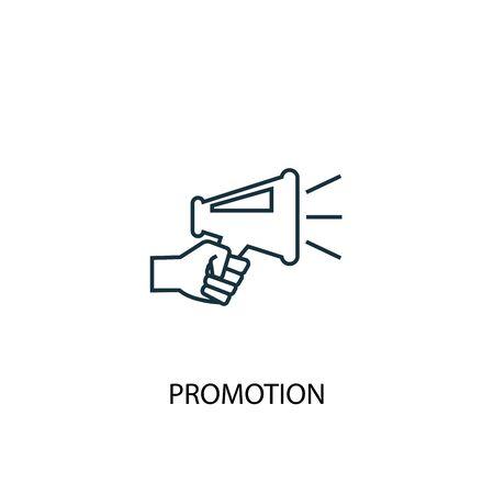 Promotie concept lijn pictogram. Eenvoudige elementenillustratie. Promotie overzicht symbool conceptontwerp. Kan worden gebruikt voor web- en mobiele gebruikersinterface