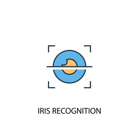 iris recognition concept 2 colored line icon. Simple yellow and blue element illustration. iris recognition concept outline symbol