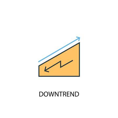 concepto de tendencia bajista 2 icono de línea de color. Ilustración simple elemento amarillo y azul. símbolo de esquema de concepto de tendencia bajista Ilustración de vector