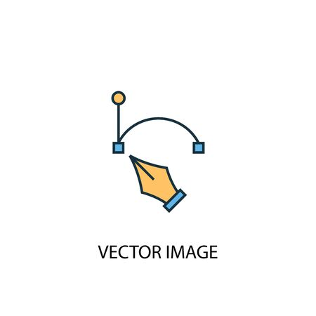 vector image concept 2 colored line icon. Simple yellow and blue element illustration. vector image concept outline symbol Ilustração