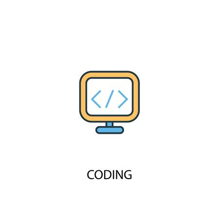 coding concept 2 colored line icon. Simple yellow and blue element illustration. coding concept outline symbol