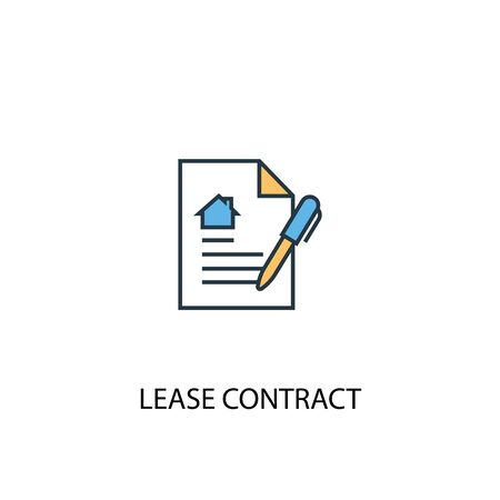 Lease contract concept 2 colored line icon. Simple yellow and blue element illustration. Lease contract concept outline symbol