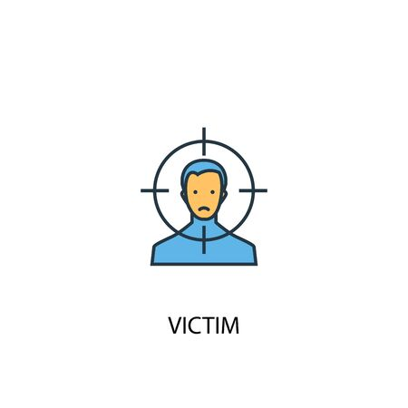 victim concept 2 colored line icon. Simple yellow and blue element illustration. victim concept outline symbol 向量圖像
