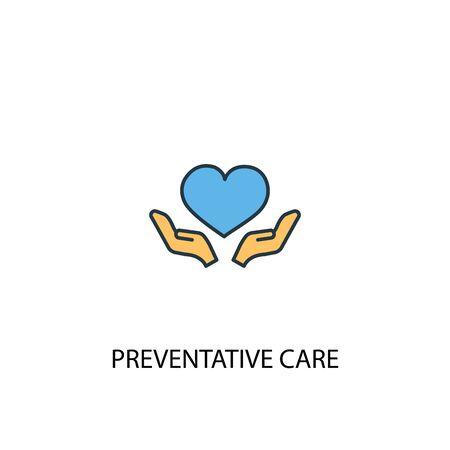 Preventive care concept 2 colored line icon. Simple yellow and blue element illustration. Preventive care concept outline symbol  イラスト・ベクター素材